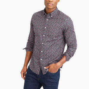 J Crew Untucked Flex Washed Floral Print Shirt